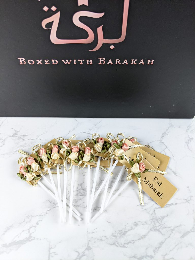 Cupcake toppers that say Eid Mubarak