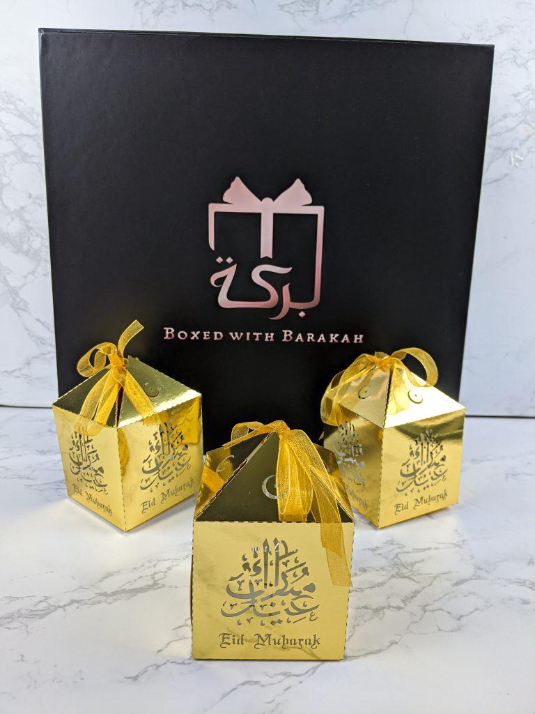 Gold Eid Mubarak Favor Boxes